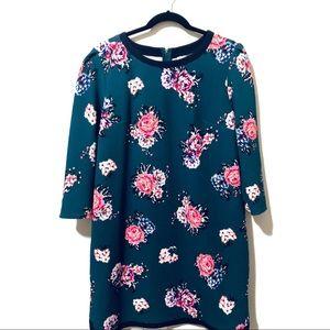 Floral Shift Dress Pleat Shoulder Contrast Hem XL